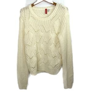 Divided Ivory Open Knit Fuzzy Sweater Small